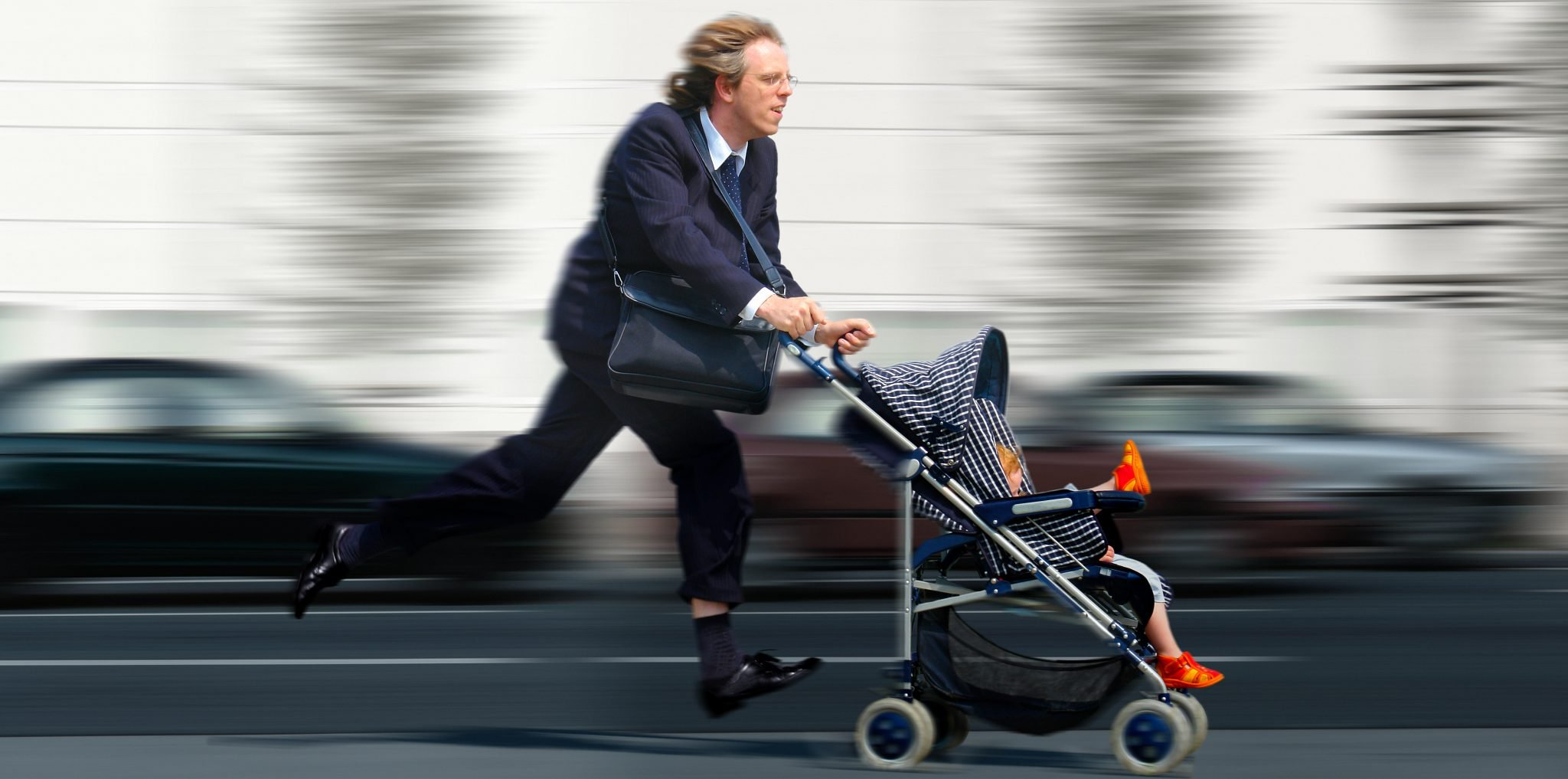 Businessman with baby is to late.